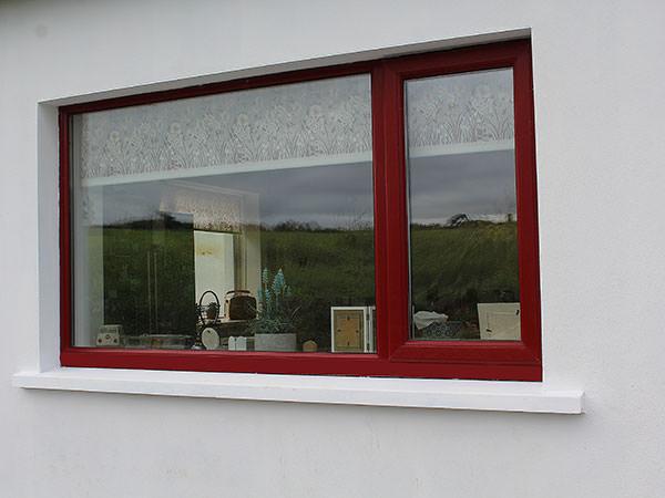 upvc window in red